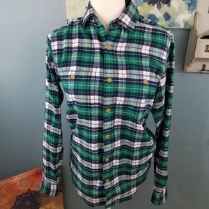 J. Crew green flannel button up